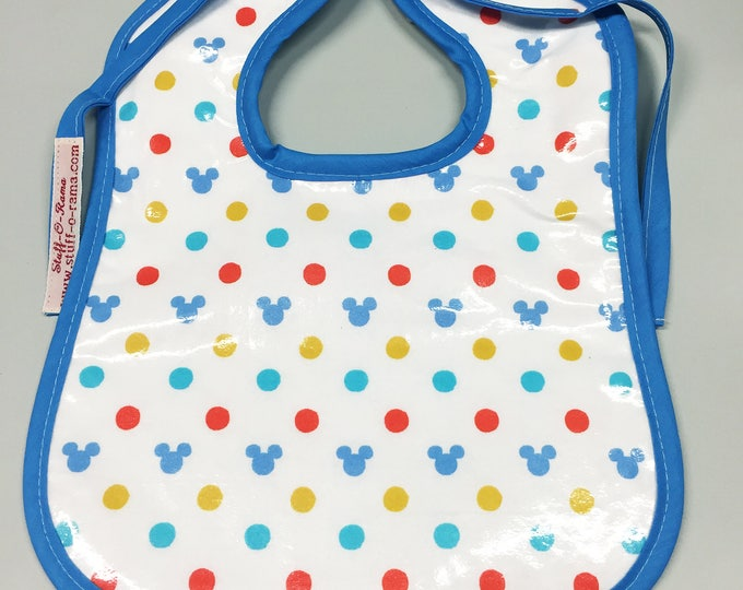 Wipeable Baby Bibs - Hidden Mickey Polka Dots