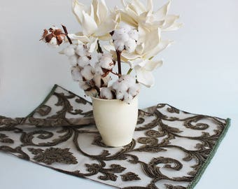 """RESERVED-Decorative small khaki/brown table cloth  27,5""""x 17"""", ready to ship"""