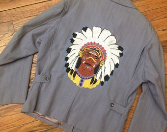 VINTAGE 1950s Western Native American Indian Chief Head Jacket skyking ranch zip up wool gabardine chain stitch embroidery Indian chief gray