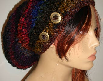 MultiColor Slouchy Beanie Hat, Crocheted Slouch Hat, Fall Colors, Knit Slouch Hat, Hat with Button, Warm Hat, Premium Acrylic Yarn, Gift
