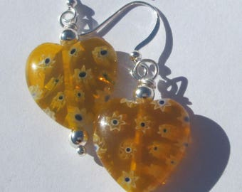 Yellow millefiori Glass Heart Pierced Earrings Gift for Her handmade yellow heart earrings by Ziporgiabella