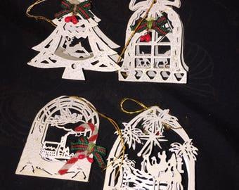 Vintage 3-D Metal Christmas Ornaments