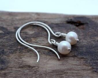 Pearl Drop Dangle Hoop Earrings