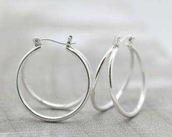 Double Hoop Sterling Silver Earrings
