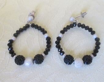 Crystal and Sterling Silver Beaded Earrings
