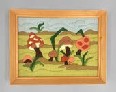 Vintage Toadstool Fiber art, Vintage Handmade Mushroom Yarn Art, Wall Decor, Unique Decor, Framed Vintage Needlework, Woodlands Mushrooms