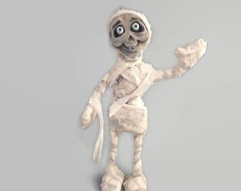 Mummy Art Doll - Mummy Sculpture -  OOAK - Creature Art -  Halloween Decoration - Creepy - One of a Kind - Skeleton - Monster art - Original