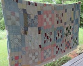 RESERVED - Vintage Cutter Scrap Quilt - Used and Abused - 1940s Hand Quilted/ Hand Pieced