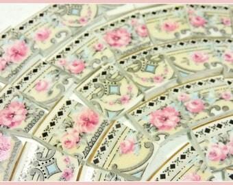 Mosaic Tiles - AnTiQuE EnGLiSH PiNK RoSES - 100 Broken China Mosaic Tiles