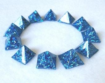 Holographic blue glitter pyramid studs glue on