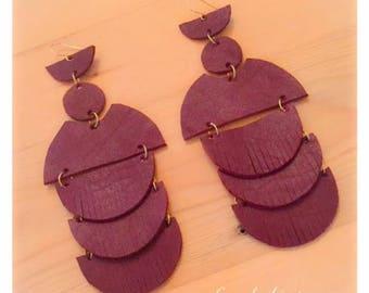 AMANISHAKETO leather earrings - Ox Blood