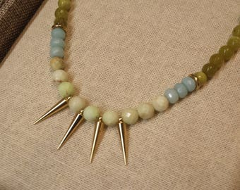 Green Jade Spike Necklace. gemstone chocker, Modern color block necklace