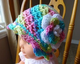 Crochet, Cloche, Variegated Acrylic Yarn, Scalloped edge, Flower attached, Girls, 2-4 yr. old size, 18 in dia.