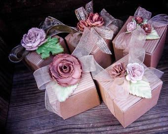 Beautiful gift boxes, taupe paper flower favor boxes, flower boxes,  soap boxes, gift packaging, wedding favor, shower favors, tea party