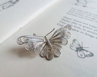 Silver Filigree Butterfly brooch - sterling silver beautiful vintage pin - 1960s - nouveau style - gift for gardener