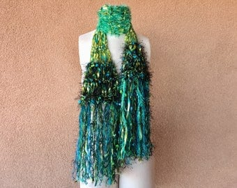 Art Yarn Scarf Turquoise, Teal, Blue, Turquoise, Lime Green, Black Scarf. Lightweight 'Dragonfly' Ribbon Scarf with Fringe Scarf