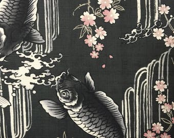 Carp, Waterfall, and Cherry Blossoms Japanese cotton dobby fabric Koi Sakura BLACK IGA-14240-2B