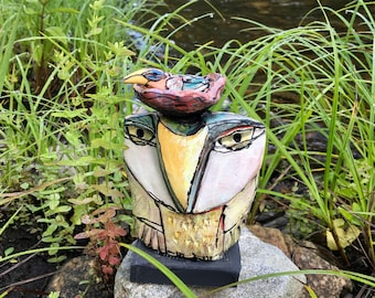 "Owl art, handmade one of a kind ceramic owl art,""Owl Person and the Boogie Bird. Love is All, 6"" tall"