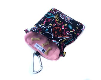 Dog Training Treat Bag Pocket 2.0 in Black pink swirl