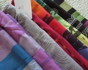 Wrap Scrap Fabrics #11 - over 3 yds, wrap accessories, suck pads, drool pads, woven baby wrap carrier remnants,  mobiles, clothing, delta