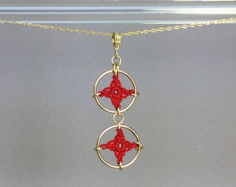 Spangles, red silk necklace, 14K gold-filled