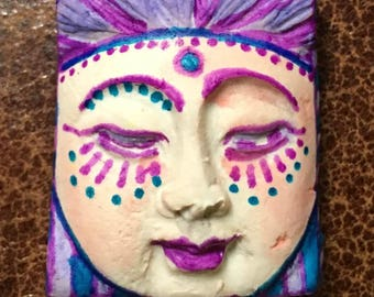 Handmade clay face  goddess  woman doll head  jewelry craft supplies  cabochon  mosaics dolls jewelry craft  spirit square