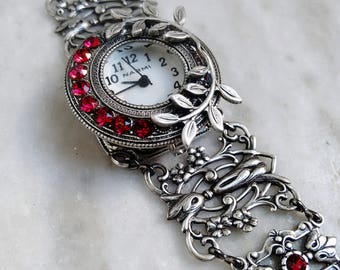 Red Womens Watch Silver Filigree Floral Bracelet Victorian Jewelry Gift for her
