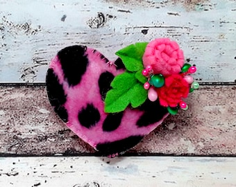 Leopard print decorated Heart hair clip,Handmade felt animal print lightly padded leopard print heart Barrette or brooch pin