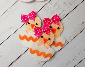 Hair clips handmade Glitter Easter chick hair clip, easter chick Barrette, easter hair clip, Easter Chick hair slide, easter chick hair bow