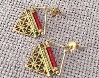 Tribal Afghan Silver earrings, Turkish jewelry, Gold plated Coral earring