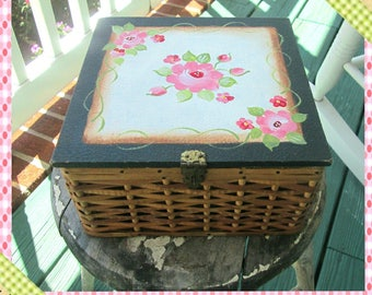 Sewing Box, Much Loved, Vintage Shabby Chic Handpainted Storage  Box, Upcycled Sewing Box, Refurbished Vintage Box, Basket