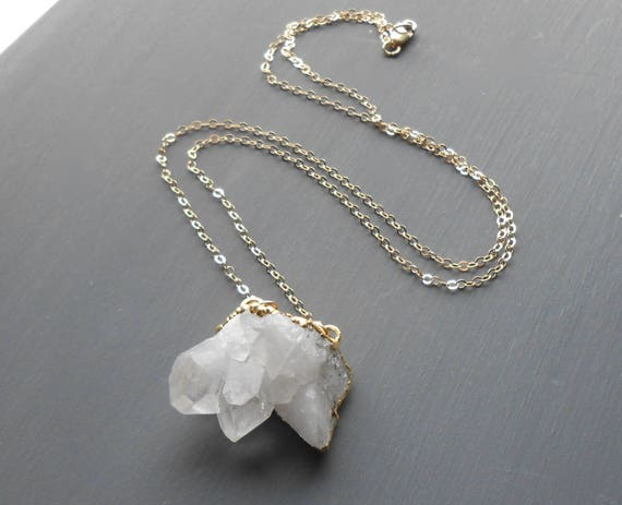 Crystal Quartz Cluster Pendant Necklace