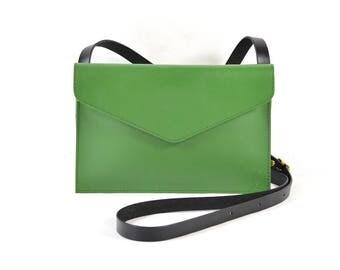 Evette - Handmade Green Leather Shoulder Bag Purse SS18