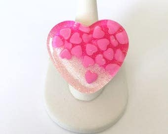 Hot Pink Candy Girl Hearts and Glitter Resin Heart Ring