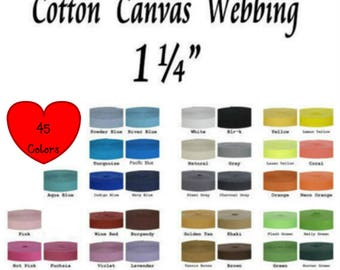 """15 YARDS - 1 1/4"""" - Synthetic COTTON Canvas Webbing Strap, 1 1/4 inch, Heavy Weight, 1.25, Your Choice of up to 3 Colors"""