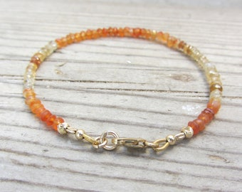 Citrine Bracelet, Orange Bracelet, Carnelian Bracelet, Dainty Bracelet, Delicate Bracelet, Gold Fill Bracelet, Stacking Orange Bracelet