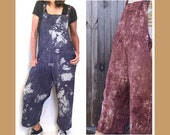 Iron Range and Big Lake Bib Overalls - cotton rompers, blue and burgundy overalls, unisex clothing, plus size bib overall, womens loose bibs