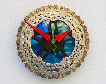 bike gift clock, wall clock, recycled birthday gift, upcycled bike gift, steampunk gift, bike art, Recycled Bike Gear Clock
