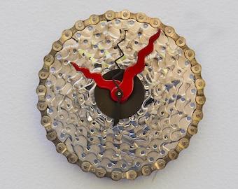 bike gear clock, bike gift clock, wall clock, recycled christmas gift, upcycled bike, steampunk gift, bike art, Recycled Bike Gear Clock