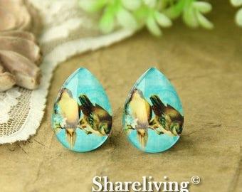SALE - 30% OFF 4pcs 18x25mm Handmade Photo Teardrop Glass Cabs Cabochons  (Vintage Birds) -- BCH950B