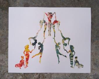Original Hand-Cut Watercolor Silhouette - Strength in Numbers - 19x24
