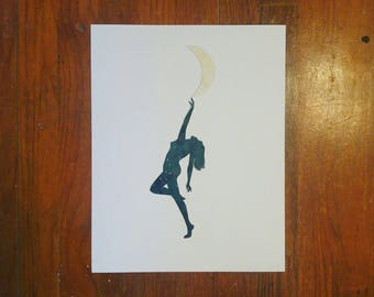 Original Hand-Cut Watercolor Silhouette - 11x14