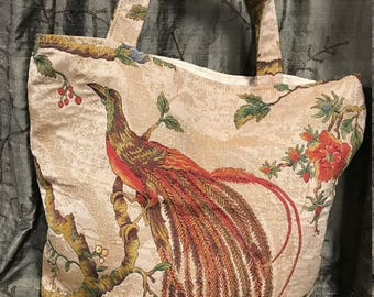 Bird Tote/vintage tapestry tote bag/bird tapestry tote