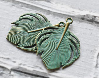 Antique Brass Verdigris Metal Feather Charms- Boho Big Feather Charms Blue Green Patina-  Tribal Exotic Jewelry Supply- Set of 10