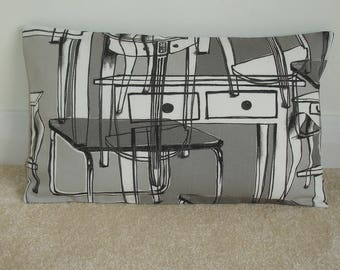 "12x20 Pillow Cover Ikea Furniture Contemporary 20""x12"" Oblong Bolster Cushion Case Sham Slip Pillowcase Monochrome Black Grey White Abstract"