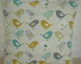 "Saffron Ochre Gray Teal Duck Egg and Grey Kissing Birds 16x16 Pillow Cover Bird 16"" Cushion Case Sham Slip Pillowcase Nordic Scandinavian"