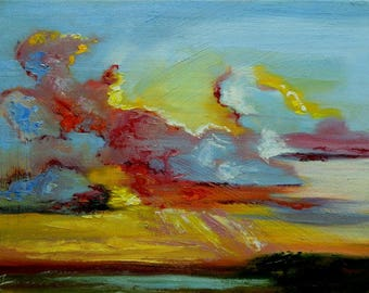 Clouds 32 painting 12x16 inch original impasto impressionistic oil painting by Roz
