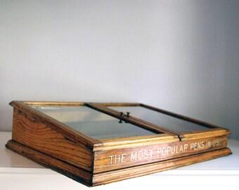 Wood Display Case, Esterbrook Pens Cabinet, Counter Top Display, General Store Fixture, Oak Souvenir Display, Industrial Decor, Organizer