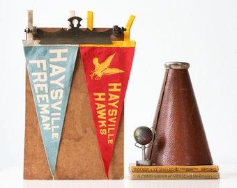 Vintage School Pennants, Haysville Hawks, Haysville Freeman, Set of 2