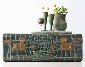 Vintage Green Suitcase, Faux Alligator, Monarch brand